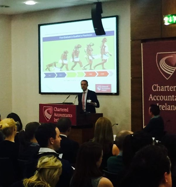 Frank Keane pictured speaking at Chartered Accountants Ireland event