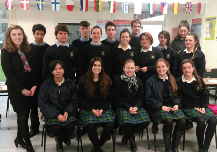 Niamh Hickey with the TY students of St. Tiernans Community School (Photo credit: St Tiernans CS)