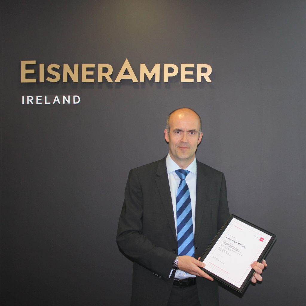 Dave Montgomery FCCA, Partner and Head of Risk & Regulatory at EisnerAmper Ireland receiving an ACCA Approved Employer Certificate.